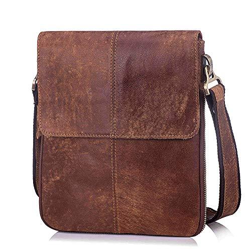 Echtes Leder Klein Umhängetasche Herren Tasche Reisen Mini Schultertasche Handytasche Männer Mini Messenger Bag (Braun-a-1)