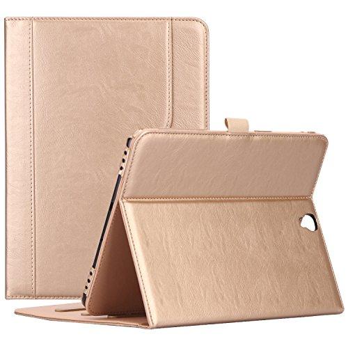 ProCase Klappen Schutzhülle für Galaxy Tab S3 Tablet, Stand Folio Case Cover für Galaxy Tab S3 Tablet (9,7 Zoll, SM-T820 T825), mit Mehreren Betrachtungswinkeln, Dokumentenkarte Tasche - Gold (Tablet Galaxy Tab 3 Kids)
