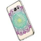 Ukayfe Compatible con Samsung Galaxy S6 Edge Plus Custodia Silicone Trasparente con Disegni Ultra Sottile Morbida Silicone Gel Clear TPU Fiore di Mandala Motivo Case Cover - Mandala#15