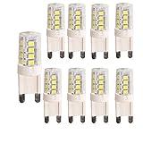 OUGEER 8er Pack G9 LED Lampe, Kein Flackern, (3W, Ersetzt 30W Halogen), 300LM, Kaltweiß 6000K, G9 LED Leuchtmittel Birne