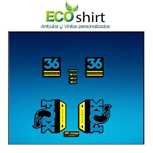 Ecoshirt 8M-8KCZ-UVW3 Aufkleber Stickers Fork Fox 36 Performance Elite 2017 Am94 Aufkleber Decals Autocollants Adesivi Forcela Gabel Fourne, Blau Gelb -