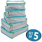 mDesign sacs de rangement avec fermeture éclair (lot de 5) – housse de rangement pour bagage à main ou valise – sacoche voyage en polyester respirant avec insert en maille – gris, turquoise et blanc