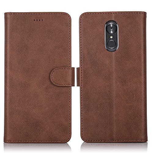 CRESEE LG Q Stylus Hülle, Handyhülle Leder Schutzhülle Flip Cover Case Bumper Magnetische Standfunktion Kartenhalter Stoßfest Brieftasche Tasche für LG Q Stylus (Braun)
