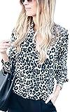 ECOWISH Damen Bluse Leopardenmuster Hemd V Ausschnitt Button Down Shirt Kragen Langarmshirt Oberteile Top 229 Weiß M