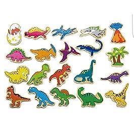 Viga Toys–50289–Dinosauri magnetici in Legno–20Pezzi