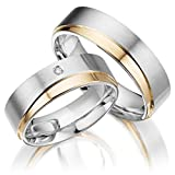 2 x Trauringe 925 Silber PAARPREIS inkl. Swarovski Crystal und Gravur AG.33 Echt Silber Sterling Silver vergoldung Rosegold Rose Wedding Rings Engament Freundschaftsringe Verlung