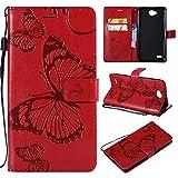 COWX Leder Kreditkarten Brieftasche Handy Schutzhülle für LG Electronics X Power II Hülle Tasche Flip Case Cover (Blau)