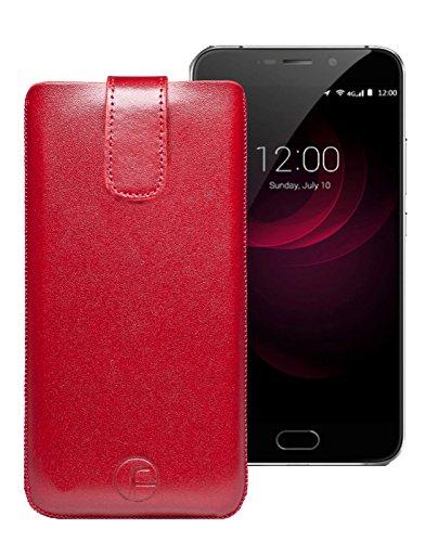 Original Favory Etui Tasche für UMI Plus / UMIDIGI Plus | Leder Etui Handytasche Ledertasche Schutzhülle Case Hülle *Lasche mit Rückzugfunktion* in rot