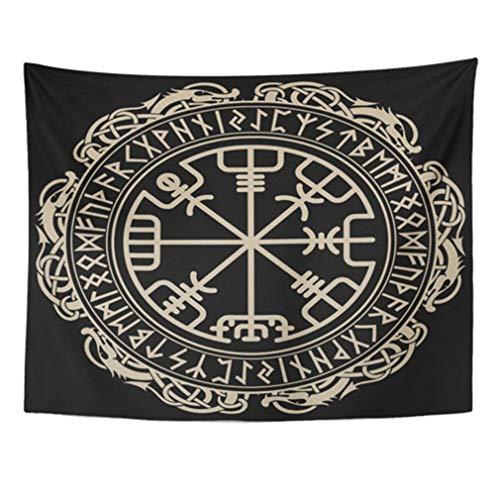 EEPT Tapiz Mandala Decoración para el hogar Negro Vikingo Mágico Rúnico Brújula Norse Runes Tapices Dormitorio