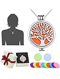 """Aromatherapy Essential Oil Diffuser Pendant Necklace,WAWJ Life Tree Stainless Steel Christmas Mothers Day Gift Jewelry with 24"""" Chain & 12 Felt Pads"""