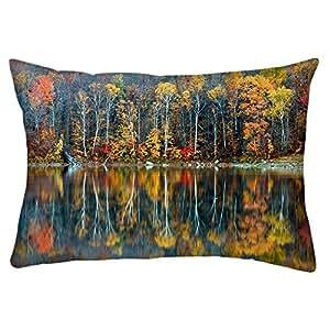 "Snoogg Golden Reflection Nature Rectangle Toss Throw Pillow Cushion Cover Decoarative Pillow Case 16 x 24"""