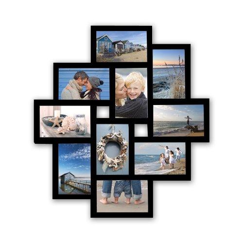 WOLTU BR9727 Bilderrahmen, 10 Fotos Collage, Für 10x15cm Bilder, Zum Hängen im Querformat und Hochformat, schwarz - Wand Bilderrahmen Collage