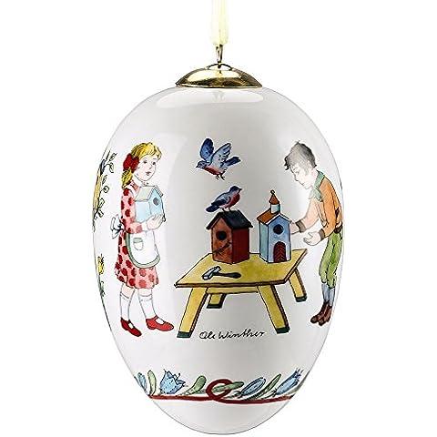 Hutschenreuther 02254-722106-27958 - Huevo decorativo (porcelana, 11 cm, en caja de regalo), diseño de niños con casetas de pájaros
