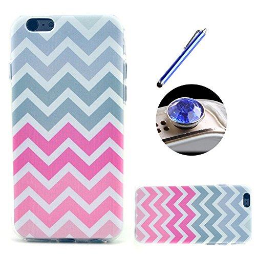 Etche TPU Housse pour iPhone 5C,Étui Coque Housse Pour iPhone 5C,coloré imprimé couvercle du boîtier de caoutchouc de silicone pour iPhone 5C + 1x Bleu style + 1x Bling poussière plug (couleurs aléato Pattern #9
