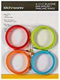 4 Inch Silicone Egg & Pancake Mold Rings- One of Each Color- For Breakfast, Lunch, & Dinner; Cooks Great any Stovetop Treat; Great Cooking Accessory & Gift Idea - By Kitch N' Wares by Kitch N' Wares