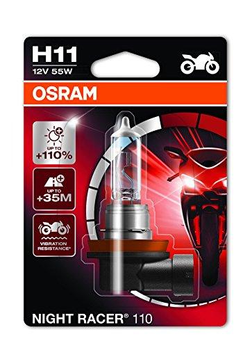 OSRAM 64211NR1-01B NIGHT RACER 110 H1 Halogen Motorrad-Scheinwerferlampe, Einzelblister (1 Stück)