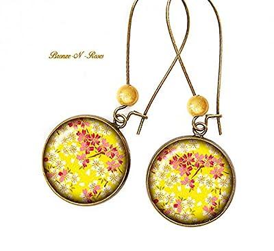 Boucles d'oreilles * sakura jaune * papier japonais fleurs bronze cabochon verre