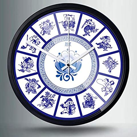 HY-FHLJ Printing Metal Quartz Clock Pastoral Style 12 Inch Chinese Style Blue And White Porcelain Pattern Mute No Ticking Sound Family Kitchen / Living Room Wall Clock (Silver White Black) , E , 12