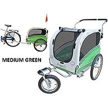 Polironeshop Argo - Remolque y carrito para bicicleta para el transporte de perros, VERDE,