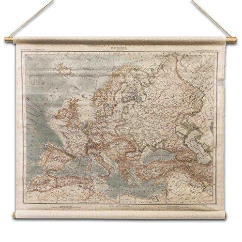 Europakarte Antik Europa - Stil Wandkarte aus Leinen Leinwandbild Vintage Historie - Von Haus der...