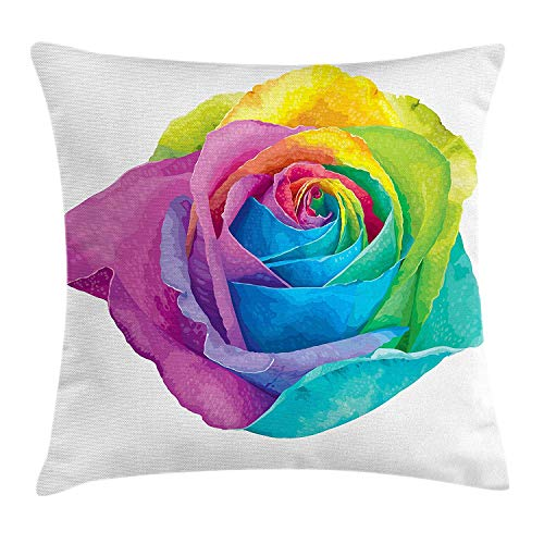 Cupsbags Vintage Rainbow Throw Pillow Cushion Cover, Romantic Blooming Rose with Colorful Petals Love Flower Valentine's Day, Decorative Square Accent Pillow Case, Multicolor24 Cathay Rose