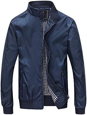Mochoose Hombre Casual Slim Collar Ligero Chaqueta Chaqueta Impermeable Impermeable Zipper Outerwear
