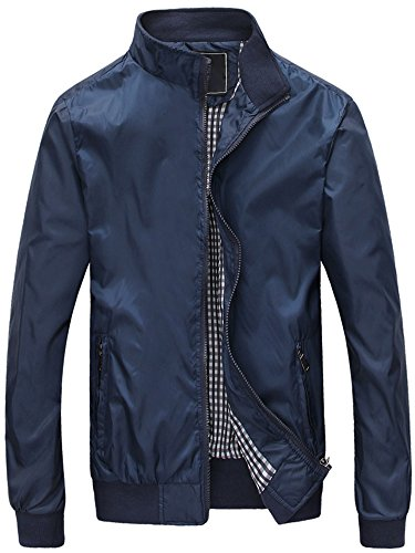 Mochoose-Hombre-Casual-Slim-Collar-Ligero-Chaqueta-Chaqueta-Impermeable-Impermeable-Zipper-OuterwearAzulM