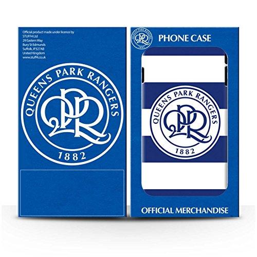 Officiel Queens Park Rangers FC Coque / Brillant Robuste Antichoc Etui pour Apple iPhone 8 Plus / Noir Design / QPR Crête Club Football Collection Hoops/Bleu Marine
