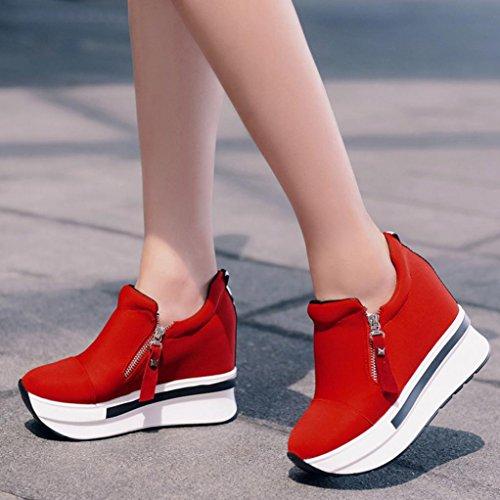 SOMESUN Women Boots Shoes, Scarpe da Donna con Scarpe da Donna in Cuneo delle Scarpe da Donna Red