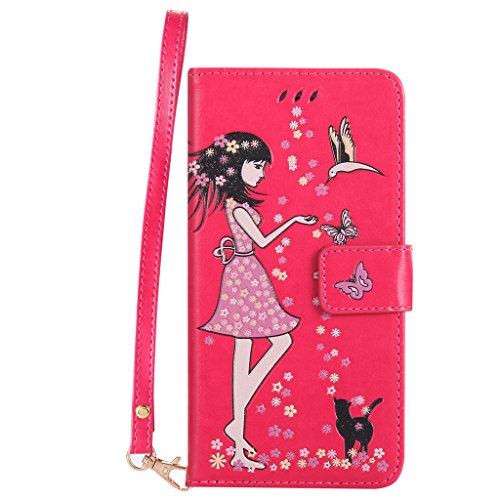 "IJIA Noctilucent Pur Gris Fille Chat PU + TPU Doux Silicone Slot Flip Cuir Portefeuille Dragonne ID Credit Card fonction Case Cover Coque Housse Etui pour Apple iPhone 6S / 6 (4.7"") LightRed"