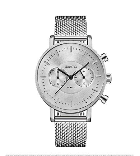 Bendwy Black Metal Mesh Uhr Fashion 5 Nadel Chronograph Herren Innerer Trichter Dial Paar Uhr (Color : Silber) -