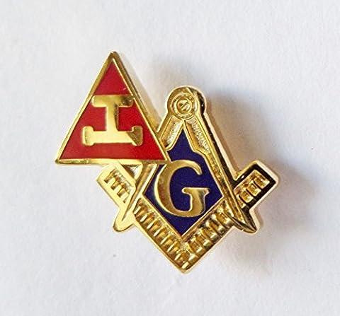 Royal Arch Triple Tau and Square & Compasses Cut Out Freemasonry Masonic Pin Badge - K133