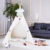 Triclicks Tipi Spielzelt Teepee Zelt für Kinder - 100% Baumwolle Segeltuch Kinderzelt Indianer (Weiß Stil B)