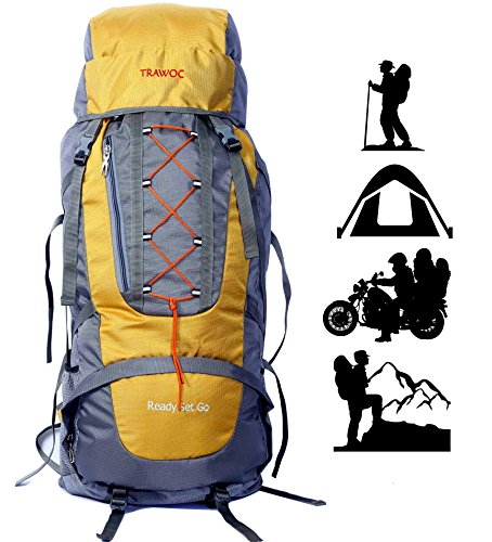 TRAWOC 60L Water Proof Travel Backpack for Outdoor Hiking Trekking - HK002 Yellow ( 1 Year Warranty )