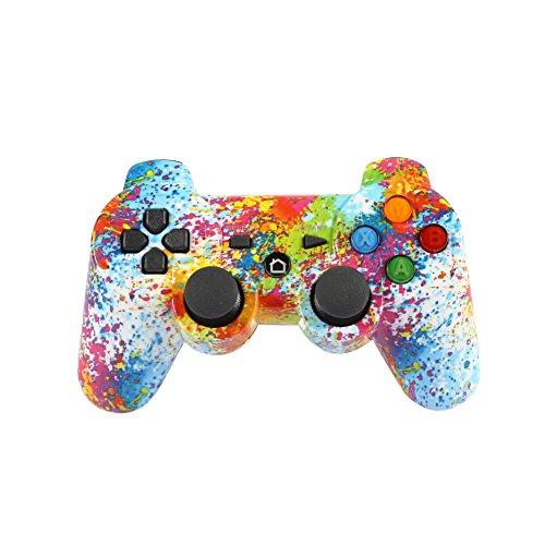 Haihuic Para el Controlador de PS3 Joystick de Doble vibración inalámbrico Mando a Distancia con Bluetooth Gamepad SixAxis para Playstation 3 (Color Splash 1)