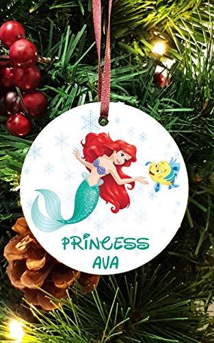 Disney Princess personnalisé en céramique Décoration d'arbre de Noël Décorations à Suspendre la Petite sirène Ariel (8)