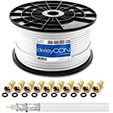 deleyCON HQ 100m SAT Koaxial Kabel 130dB - 4-fach geschirmt für DVB-S - S2 DVB-T und DVB-C - Stahl/Kupfer Innenleiter - 4K 1080p FULL HD HDTV - inkl. 10x vergoldete F-Stecker