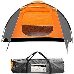 Milestone Camping Tienda súper iglú para cuatro personas Naranja