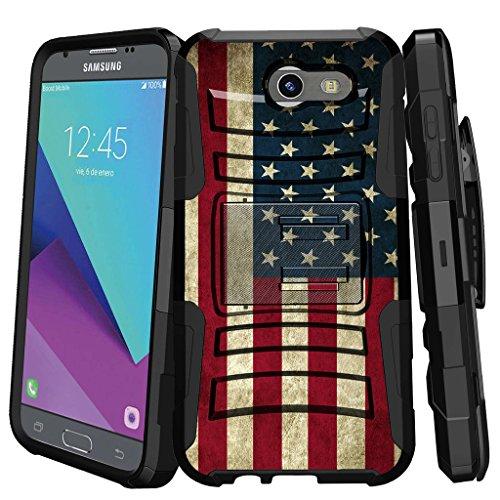 Design Schutzhülle für [Samsung Galaxy Sol 2| Express Prime 2| AMP Prime 2| J3Mission] [Clip Armor] Rugged Hybrid Fall mit Ständer und Holster, American Flag USA American Flag-handy-fall