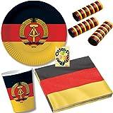HHO Nostalgie Ostalgie DDR Party-Set 63tlg. für 20 Gäste : Teller Becher Servietten Luftschlangen