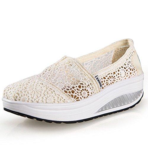 Zapatos de Mujer Plataforma Malla Andar Deporte Zapatilla de Deporte Running Zapatillas Sacudir Casual Zapatos Height-increasing Sneaker