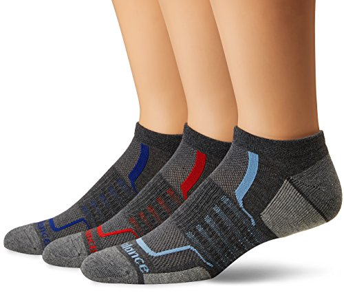 New Balance Herren Performance No Show Socks-3 Pairs Grey/Black/Blue/Red, Large (Balance-performance New)