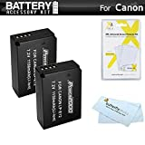 2 Pack Battery Kit For Canon EOS SL1 DSLR EOS M EOS M Mirrorless Digital Camera Includes 2 Extended Replacement (1150Mah) For Canon LP E12 Batteries + LCD Screen Protectors + MicroFiber Cleaning Cloth