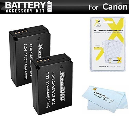 2 Pack Battery Kit For Canon EOS SL1 DSLR EOS M EOS M Mirrorless Digital Camera Includes 2 Extended Replacement (1150Mah) For Canon LP E12 Batteries + LCD Screen Protectors + MicroFiber Cleaning Cloth  available at amazon for Rs.3543