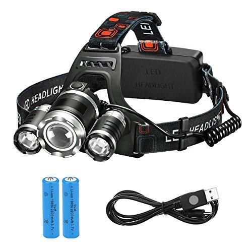 LED Stirnlampe, Topop High Power LED Kopflampe mit 5000lm, 4 Licht-Modi, 2 Akkus enthalten, ideal für Wandern Camping,Reiten,Fischen,Jagen