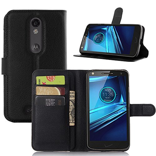 Tasche für Motorola MOTO Droid Turbo 2 Hülle, Ycloud PU Ledertasche Flip Cover Wallet Case Handyhülle mit Stand Function Credit Card Slots Bookstyle Purse Design schwarz