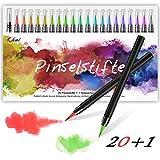 Qhui Brush Pen 20 Colori + 1 Pennello Acqua, Pennarelli Acquerellabili con Punta in Nylon Morbido e Flessibile, Pennarelli Acquerello per Colorare per Fumetti, Calligrafia, Pittura, Scritte a Mano
