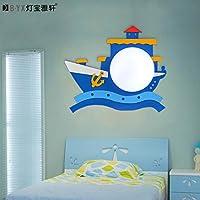LTERD Piraten Schiff Kinder Wand Lampen am Bett Cartoon junge Schlafzimmer Zimmer Lampe Kindeskinder kreative Wandleuchte 40 * 33cm,weiß