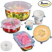 [6 Pack]Tapas de silicona elásticas, GYOYO Tapas Extensibles Reutilizables de Varios Tamaños,Protección Fácil para la Comida,Libre de BPA,Reutilizables,Flexibles y Conservan los Alimentos,Lavavajillas, Microondas y Congelador
