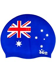 New Australia Flag Patriotic Silicone Swimming Cap One Size Mens Womens Youths by 360 Swim